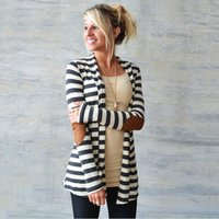 Wholesale 2016 New Autumn Women Fashion Striped Cardigan Coat Long Sleeve Casual Loose Sweatshirts Outwear Clothing CL00818