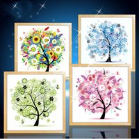 Wholesale Flower D Round Diamond Painting Cross Stitch Embroidery Kits Happy Trees Four Seasons DIY Needlework Home Wall Decoration Money