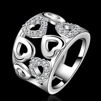 Wholesale 925 Sterling Silver women Love ring gorgeous design fashion chain lady beautiful party engagement zricon Ring jewelry factory price R633