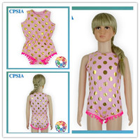 Wholesale Cute Pink Color One Piece Baby Jumpsuit Pom Pom Baby Sleeveless Summer Pajama Baby Cotton Gold Polka Dot Pajamas