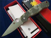paper folder - Spyderco Paramilitary Knife Green Camo G Satin Plain C81GPCMO2 EDC Survival gear Folder tactical knife knives with paper