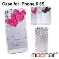 Wholesale 2014 Lovely D Micky Faux Pearl Rhinestone Transparent Hard Cover for iPhone s Phone Case PMS118 MS120