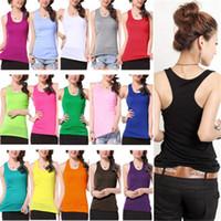 Women women's T-shirts - Hot Sales Girls Women s Tee Tanks Tops Camis T Shirt Vest Cotton Blend Sleeveless Sexy Fashion Multicolor AX2