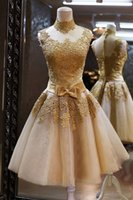 high fashion dresses cheap - 2016 hot Golden Appliques Lace Tulle Cheap Short prom Dresses High Neck Fashion Beach vestido de novia A Line evening Dress Under