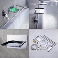 Wholesale Sprinkle by LED Waterfall Tub Faucet with Pull out Hand Shower Wall Mount