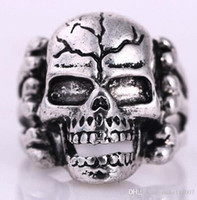 antique skull rings - 2015 New Promotion Brand New Fashion Antique Silver Ring Punk Skull Shape Vintage Stainless Steel Rings For Men