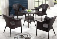 rattan outdoor furniture - freeshipping Imitation rattan Outdoor furniture Cany chair tea table set the balcony chairs and tables IN SET garden