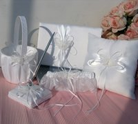 baskets set - New Arrivals Ivory Double Heart Diamante Wedding Guest Book Pen Ring Pillow Flower Basket Garter Set