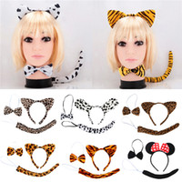 animal fancy dress accessories - Hot Sales Gilrs as a Set Headband Hair Accessories Party Fancy Dress Tools Bow Tie Tail Animal Ears IF1