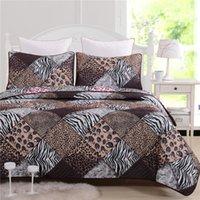 Wholesale 2015 New Summer Quilt Bedding Set Quilted Bedspread Leopard zebra stripe Coverlet Pillow Case Fashion Durable