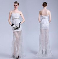 white rice - 2015 Spring Luxury Color Sexy Rice White Strapless Sequined Tulle Evening Dresses Crystal Beads Celebrity Pageant Wedding Party Prom Gowns