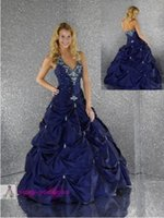Wholesale Luxury Navy Blue Cheap Ball Gowns Quinceanera Dresses Sexy Halter Floor Length Taffeta Vestido De Debutante Gowns Best Selling