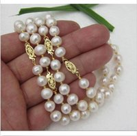 wholesale akoya pearls - REAL PC AAA MM AKOYA WHITE NATURAL PEARL NECKLACE quot K YELLOW CLASP