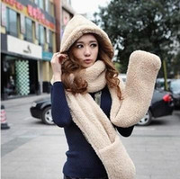 Wholesale Free DHL New Fluffy Plush Animal Hood Hats With Long Scarf And Gloves Winter Hat Scarf Gloves One Piece Set Thermal Scarf