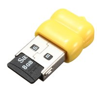 Wholesale Yellow Mbps Mini Single Cute USB Micro SD TF T Flash Memory Card Reader Adapter T10 For Linux For Windows For Mac OS