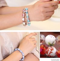 Bohemian ceramic beads flower - Hot sale New Fashionable Ceramic Bracelets Beads Flower Print Bracelet Unique Design crystal Bracelet