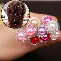 Wholesale Fashion Trendy Dozen Chic Crystal Pearl Flower Wedding Bridal Bridesmaid Hair Pin Clips U Pick Jewelry Party Accessories Colors
