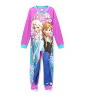 Cheap Frozen pyjamas sleepwear pajamas 6 pieces lot girl snow princess footed sleeper girl winter rompers sleep bag