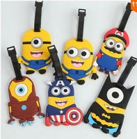 Wholesale Hot Sale Despicable Me Minions Luggage Tag Minion Cosplay Super Mario Batman Avengers Travel Tag PVC Toys Portable Suitcase Bag Tag