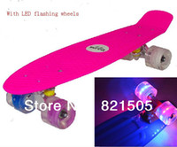 penny nickel boards - 22 quot Penny Skate board Nickel Cruiser mini skates plastic longboard with LED flashing wheels luminous