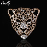 Wholesale Man Jewelry Rhinestone Crystal Leopard Tiger Brooches Pins Animal Diamante Wedding Bouquet Brooches Pin Unisex in Bulk