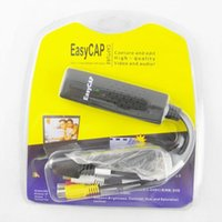 Wholesale Easycap Easier Cap USB Video Capture Adapter DVR Cards VHS To DVD Converter Audio AV Capture Cable Support Win7 Win8 Mac Retail Box
