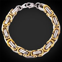 Wholesale MGC Men Punk Black Chunky Chain Bracelet For Men K Real Gold Plated Stainless Steel Bracelet Jewelry Hip Hop Fashion GH1149