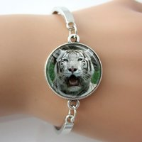 bengal tiger animal - White Bengal Tiger Bracelet Handmade Glass Bangle Tile Jewelry Art Pendant Animal Bracelet For Men Gift