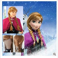 Wholesale Synthetic Cosplay hair long Curly hair wigs FSnow Adult and children aged years Queen Anna Elsa Long Anime Wigs ls