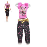 Wholesale HOT set Doll Clothes Casual T Shirt Capri Pants Blouse Trousers with Bow Waistband Doll Accessories