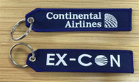 airline retail - Continental Airlines Ex Con Fabric Embroidered Key Tags Retail and Customize x cm