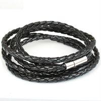 Wholesale Hot Selling Fashion ID Bracelets For Men Women Stainless Steel Brown Leather Mens Bracelet