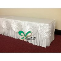 Wholesale White Color Ice Silk Table Skirt With Swags For Wedding Decoration