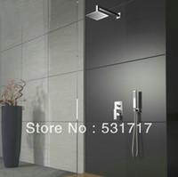 "Cheap 8"" Square Rainfall Mixer Shower Head Wall Mounted Brass Chrome with Shower Arm Control Valve hand showers hose de50"