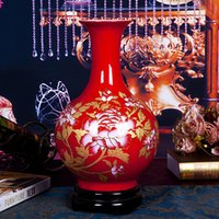 achat en gros de vase en porcelaine-Jingdezhen céramique Chine chambre vase rouge salon vase Décoration de mariage