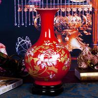 Jingdezhen céramique Chine chambre vase rouge salon vase Décoration de mariage