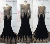 Wholesale Long Sleeve Lace Evening Dresses High Quality Real Image Black Sheer Crystal Applique Mermaid Long Prom Dress Pageant Gowns BO6958