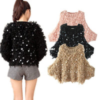 Cheap Casual Loose Oversized Women Sweater O-Neck Batwing Sleeve Sequin Jumper Pullover S2442-rl