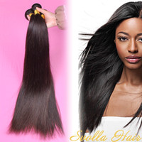 Straight 26 inch human hair extensions - Luxury Brazilian Straight Hair Weaves Unprocessed Human Hair Extensions Dyeable No Shedding Bundles