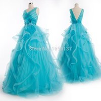Cheap Aqua blue, V-neck, open back, prom dress, ball gown, party dress, custom color custom size picture custom