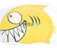 Wholesale Lovely Children Cartoon Swimming Cap Shark Silicone Diving Waterproof Cap New and Hot Selling