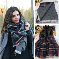 Wholesale Lady Blanket Oversized Tartan Scarf Wrap Shawl Plaid Cozy Checked Pashmina corlorful autumn winter scarves