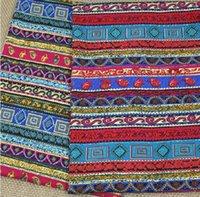 Wholesale 3 Assorted CM Bohemia Style Linen Cotton Print Fabrics Patchwork DIY Fabric Indian style colour horizontal stripe