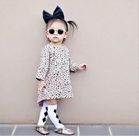 cotton children - Leopard Printing Animals Gain Long Sleeve Cotton Loose Kids Clothes Girls Dresses Children Clothing Dress Casual Fashion D5232
