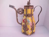 asian ceramic pots - Vintage Asian hand carved Dragon Metal crafts teapot CM high Yellow Ceramic decorative pot