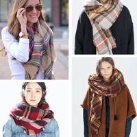 Wholesale 2016 Christmas Party Price Lady Blanket Oversized Tartan Scarf Wrap Shawl Plaid Cozy Checked Pashmina corlorful autumn winter scarves
