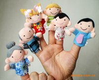 Wholesale 6PCS Lovely lively Funny Mini Baby Kids Plush Family Doll Play Game Finger Puppets Educational Learn Toys set