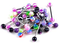 Wholesale Fashion Acrylic L stainless steel Tongue Lip Ring Barbell Chic Body Piercing Jewelry Punk Cheap Free