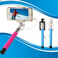 Wholesale Folding Selfie Stick Monopod With Audio Cable Wired Well Fashion Equipment For Taking Photoes Foldable Wired selfie monopod NO Bluetooth