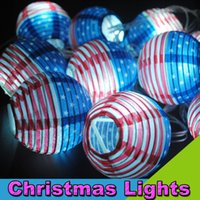 Cheap 110V 10LEDs 4M Foldable Paper Lantern American Flag Pattern LED String Lights Christmas Holiday Lights for Party Supplies